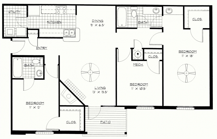 Incredible 3 Bedroom Flat House Plan In Nigeria Unique Architectural Drawings 3 3 Bed Room Flat Plan Image