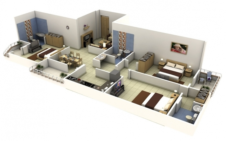 Incredible Bedroom Apartmenthouse Plans Pictures Simple Home 3 Bedrooms In 3D Simple Home Plans 3 Bedrooms In 3D Image