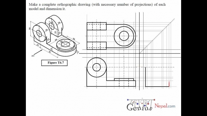Incredible Engineering Drawing Tutorials / Orthographic Drawing Solution. (T How To Draw One Stop Solution Photo
