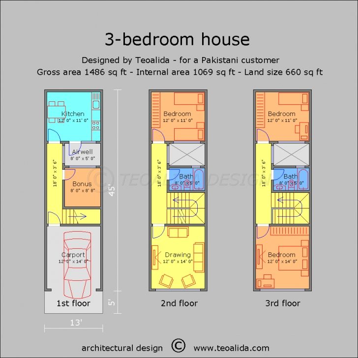 Incredible House Floor Plans 50-400 Sqm Designed By Teoalida | Teoalida Website 12*50 House Design Photo