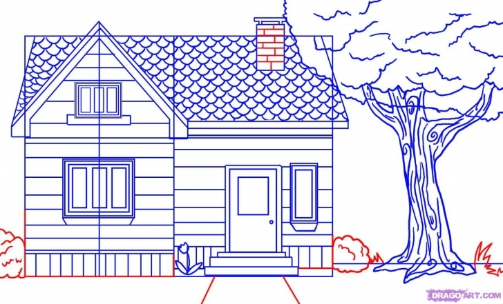Incredible How To Draw A House, Step By Step, Buildings, Landmarks & Places How To Draw A Beautiful House Step By Step Image