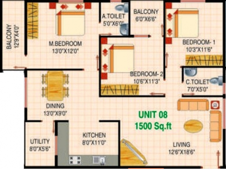 Inspirational 2 Bedroom House Plan North Facing 7 1500 Sq Ft House Plans East Indian House Plans For 1500 Square Feet North Facing Photo