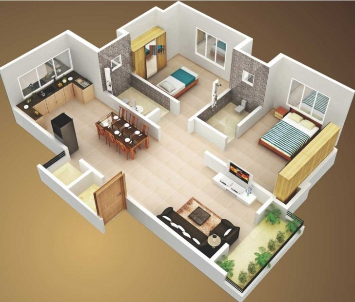 Inspirational 3D Small House Plans 800 Sq Ft 2 Bedroom And Terrace 2015 Simple House Plan With 2 Bedrooms 3D Image
