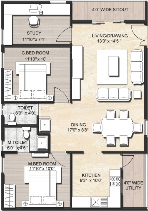 Inspiring 1200 Sq Ft House Plans In Chennai - House Decorations 1200 Sq Ft House Plan With Car Parking In Chennai Image