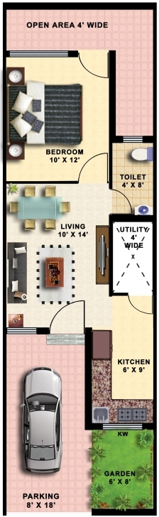 Inspiring 15X50 House Plans - House Decorations 15*50 House Plan 3D Image
