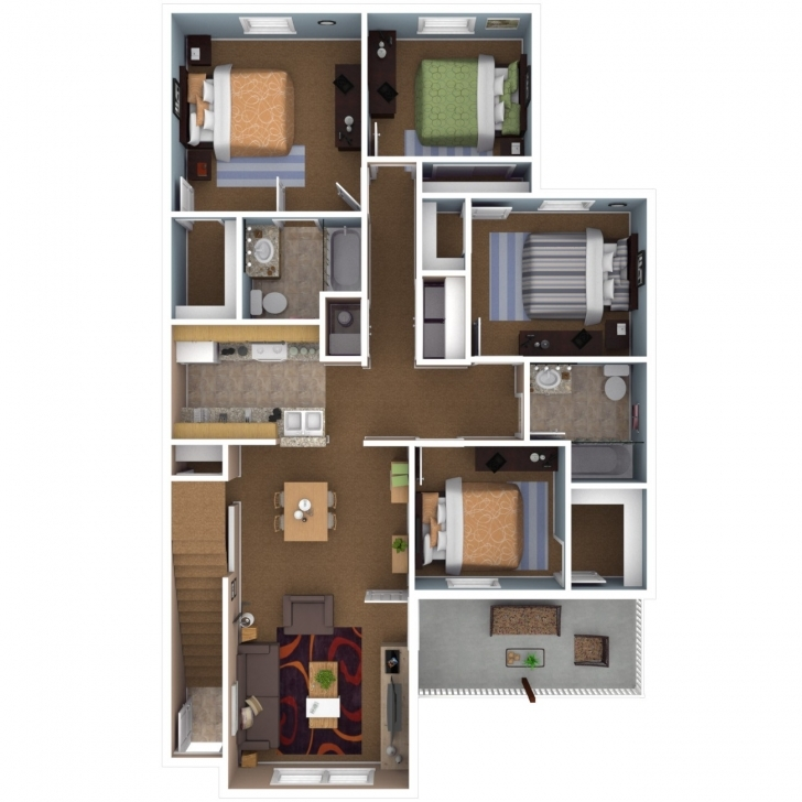 Inspiring 4 Bedroom House Plans With Basement New Floor Plan 4 Bedroom Flat Four Bedroom Flat Design Image