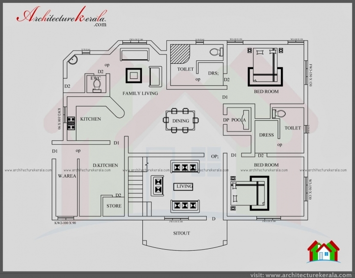 Inspiring Architectures : Kerala Style Bedroom House Plans Single Floor 4 Bedroom House Plans Kerala Style Architect Pic