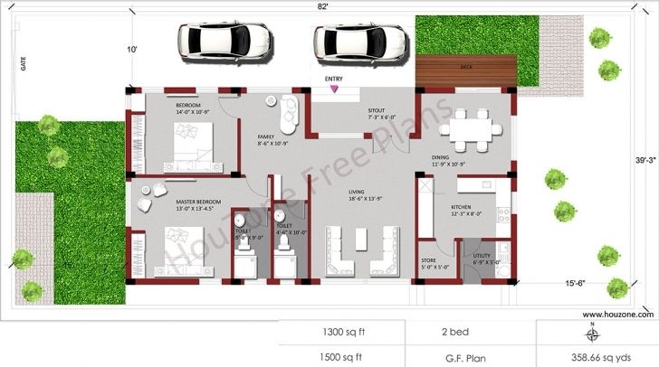Inspiring Car Parking Space Required For Duplex House Design – Houzone 1500 Sq Ft House Plan With Car Parking Photo