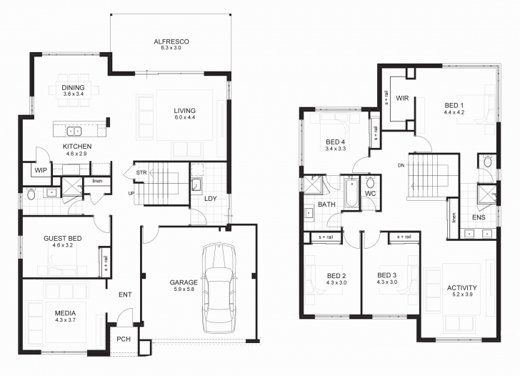 Inspiring Double Storey House Plans Elevations Best Of Uncategorized Two Storey House Plan Three Bedroom House With Elevation Pic
