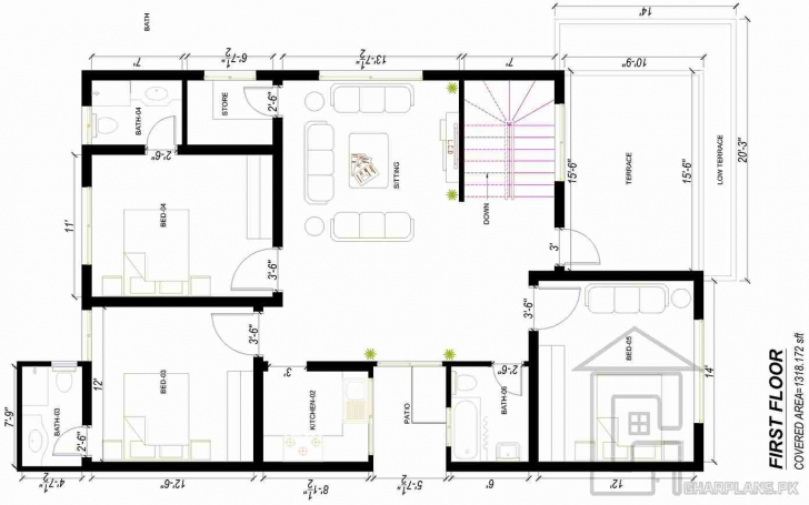 Inspiring House Plan Designs Pakistani | House Plans Designs & Home Floor Plans 15 Marla House Plan Image