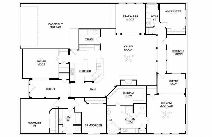 Inspiring One Story Bedroom House Collection And Charming 4 Single Floor Plans 4 Bedroom Single Story House Floor Plans Image