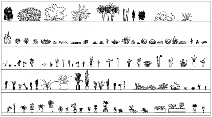 Inspiring Potted Plants And Shrubs Cad Blocks - Cadblocksfree -Cad Blocks Free Autocad 2D Plants Picture