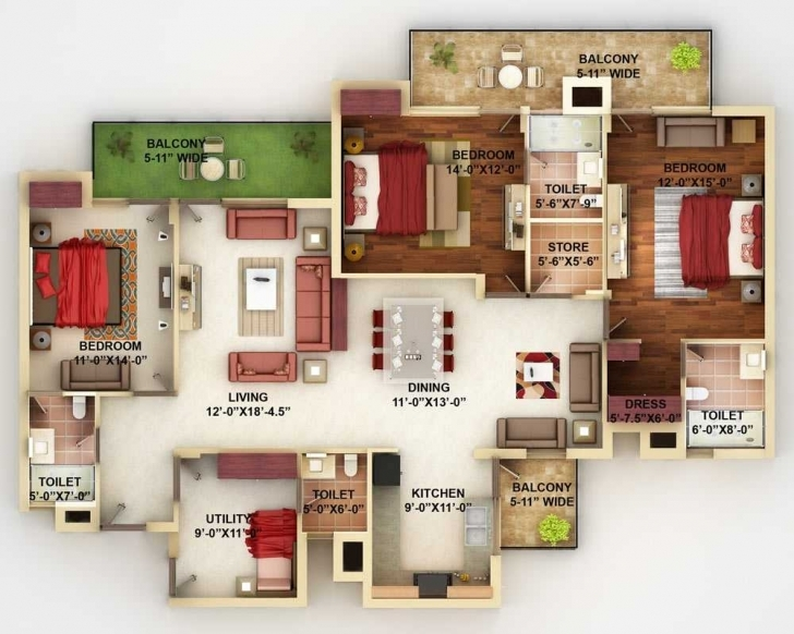 Inspiring Simple House Designs 4 Bedrooms 3D Downstairs Design 2018 And Simple House Plan With 6 Bedrooms 3D Pic