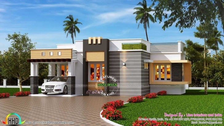 Inspiring Sq Ft Contemporary Style Ideas And Outstanding Front Elevation Of Single Floor House Front Design Kerala Style Photo