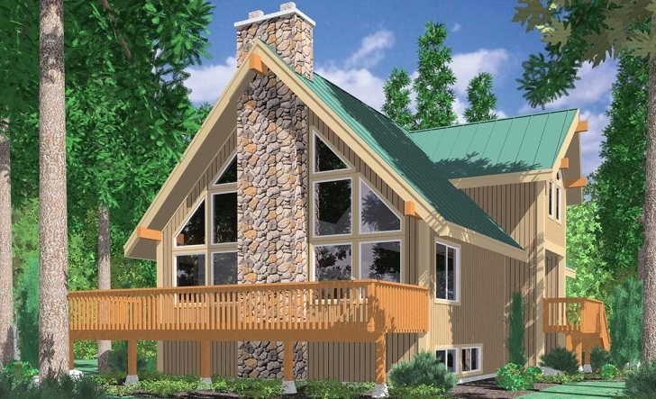 Interesting A-Frame House Plans, Vacation House Plans, Masonry Fireplace A Frame House Plans With Basement Photo