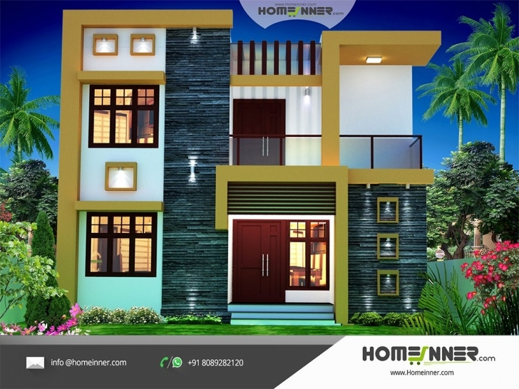 Interesting Contemporary Style 1674 Sqft Economic House Plan Design Small House Plans Indian Style 3D Picture