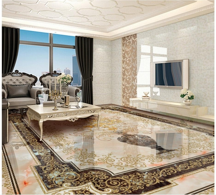 Interesting Custom Photo Self Adhesive 3D Floor Marble 3D Wall Murals Wallpaper Floor Marble With 3D Photo