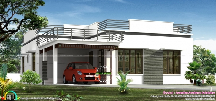 Interesting Flat Roof Single Floor Home In 1300 Sq-Ft | Kerala Home Design 2 Bedroom Flat Roof House Plans Photo