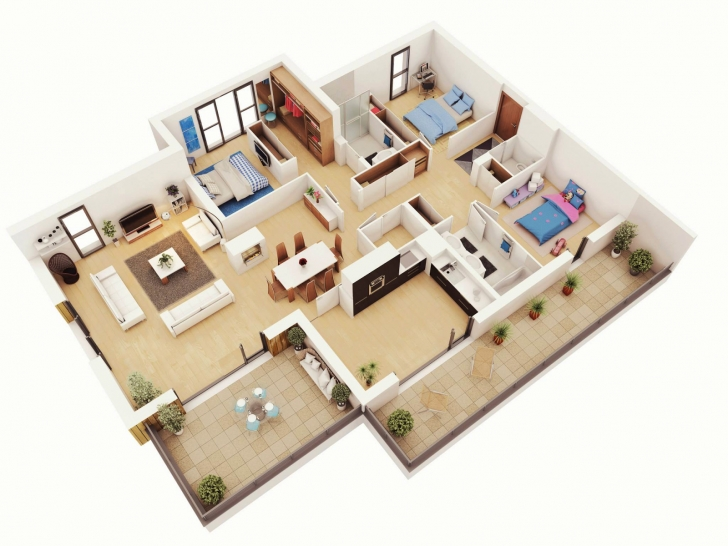 Interesting Free 3 Bedrooms House Design And Lay-Out Simple House Plan With 3 Bedrooms Picture