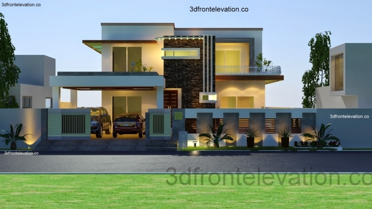 Interesting Front Elevation Kanal House Plan Layout - Home Plans & Blueprints Modern Architecture Villas Plan And Elevation Image