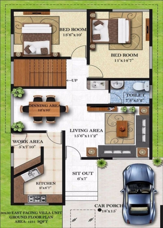 Interesting Homely Design 13 Duplex House Plans For 30X50 Site East Facing 20*50 House Plan 2 Bhk 3D View Image