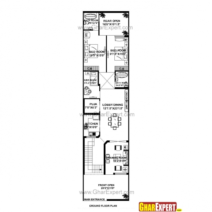 Interesting House Plan For 21 Feet By 85 Feet Plot (Plot Size 198 Square Yards 15 Feet By 60 Feet House Map Picture