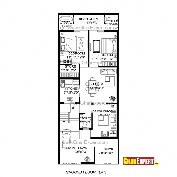 Interesting House Plan For 24 Feet By 60 Feet Plot (Plot Size160 Square Yards 10 Feet Front House Design Image