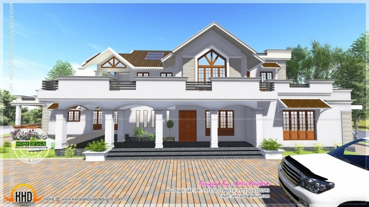 Interesting Modern Style Sloped Roof House - 4000 Sq.ft - Kerala Home Design And Kerala House Planners In Abu Dhabi Photo