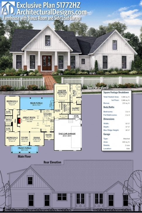 Interesting Plan 51772Hz: Exclusive Farmhouse With Bonus Room And Side Load Thornton Builders Modern Farmhouse Plan Picture