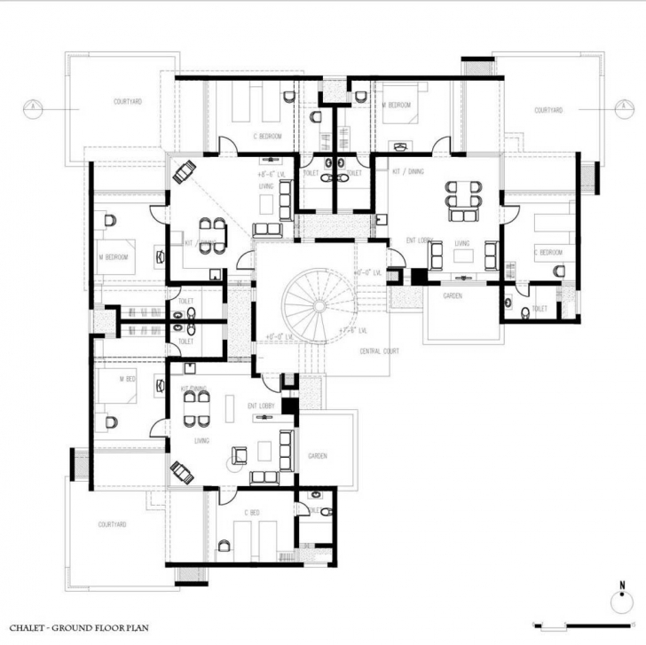 Interesting Plans Guest House Modern Guest House Plans Guest House Chalet Floor Front Elevation Plan #484-5 Pic