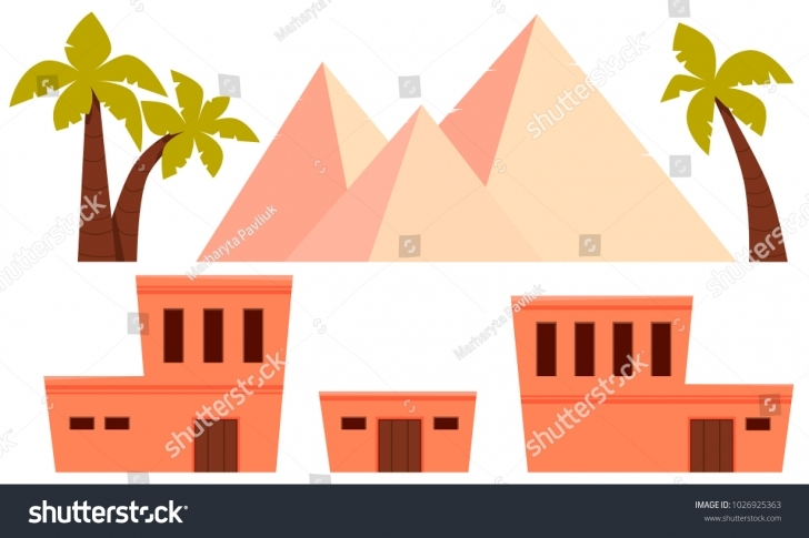 Interesting Set Ancient Egypt Flat Design Vector Stock Vector Hd (Royalty Free Ancient Egyptian Flat Roofed Houses Pic