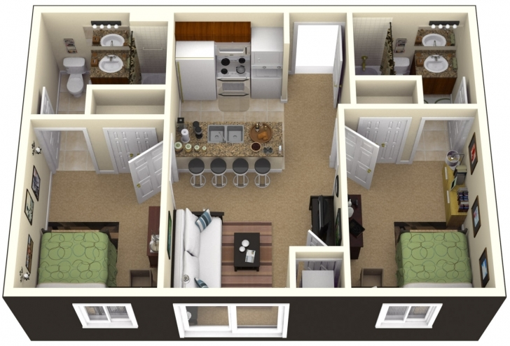 Interesting Simple House Designs 2 Bedrooms Trendy 2 Bedroom House Plans Simple House Plan With 2 Bedrooms Pic