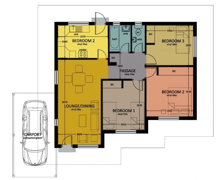 Interesting Type 80 | Bhc 3 Bed Room Floor House Plans In Jwaneng Picture