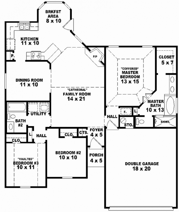 Interesting Unique Pics Simple House Plan With 3 Bedrooms - Home Inspiration Simple 3 Bedroom House Floor Plans Single Story Photo