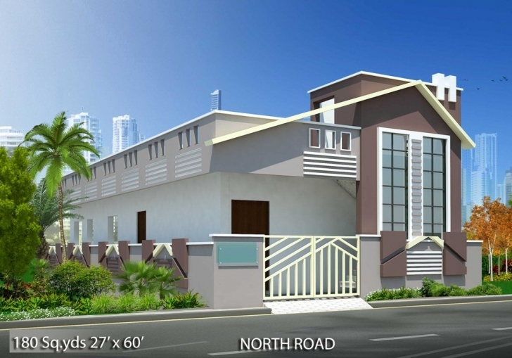 Latest 180-Sq.yds@27X60-Sq.ft-North-Face-House-2Bhk-Elevation-View.for More House Front Elevation Designs For Single Floor North Facing Pic