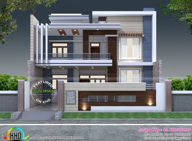 Latest 35'x 60' Decorative Style Contemporary Home   Contemporary, House Front Elevation Of Houses Architecture Image