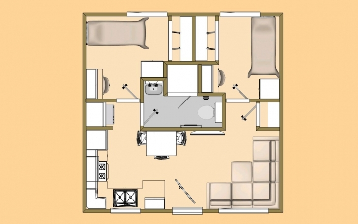 Latest A 20' X 20' 400 Sq Ft 2 Bedroom With 3/4 Bath That I'm Calling The Simple House Plan With 2 Bedrooms In 800Sft Photo