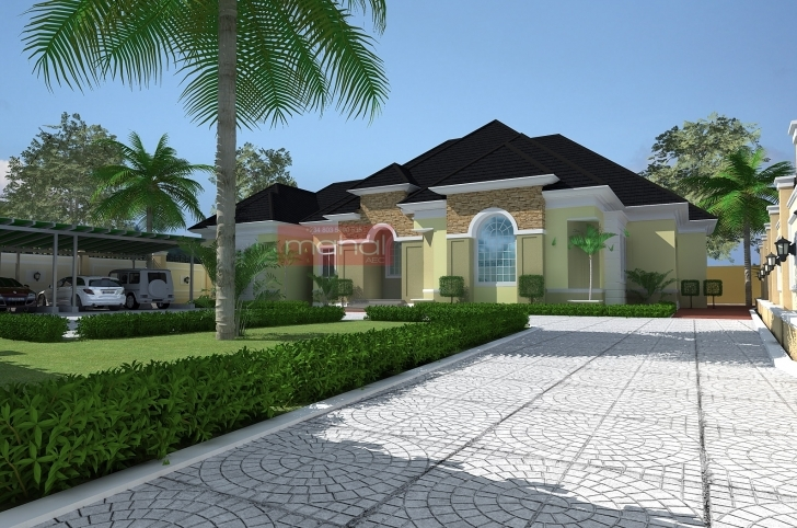 Latest Contemporary Nigerian Residential Architecture: Luxury 5 Bedroom 5 Bedroom Bungalow Plan In Nigeria Picture
