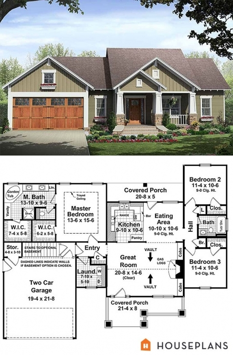 Latest Craftsman Style House Plan - 3 Beds 2.00 Baths 1509 Sq/ft Plan #21 Tiny Small Barn Brick House Plans Image