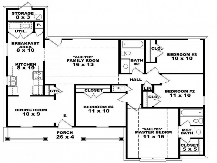 Latest Four Bedroom Floor Plan Home Design Ideas Pictures Simple 4 Plans Simple 4 Bedroom House Plans One Story Photo