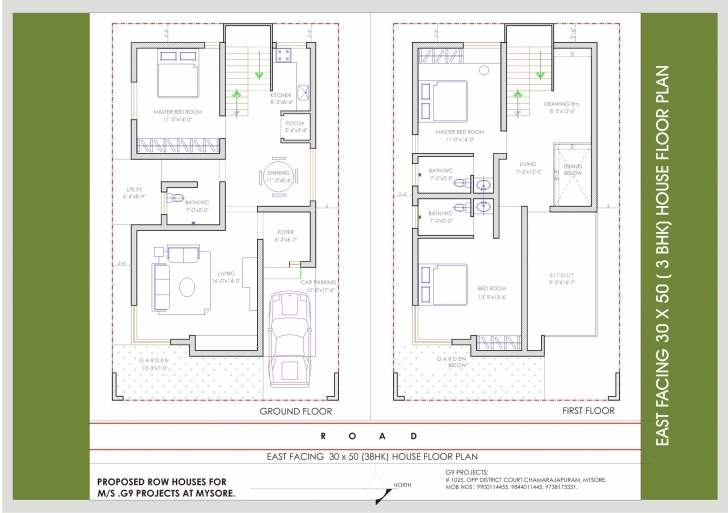 Latest Upcoming Residential Villas | Beml | Mysore One 30*50 House Plan 3Bhk Image