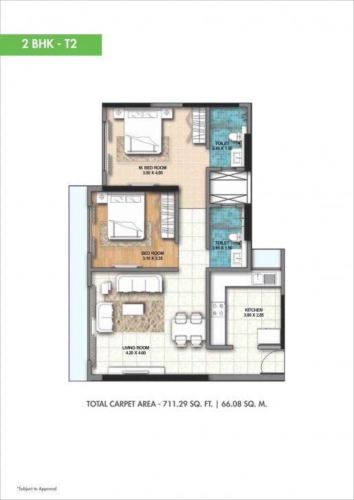 Marvelous 2 Bhk 1100 Sq. Ft. Apartment For Sale In Ahuja O2 At Rs 23318.18/sq 20*60 House Plan 2Bhk Pic