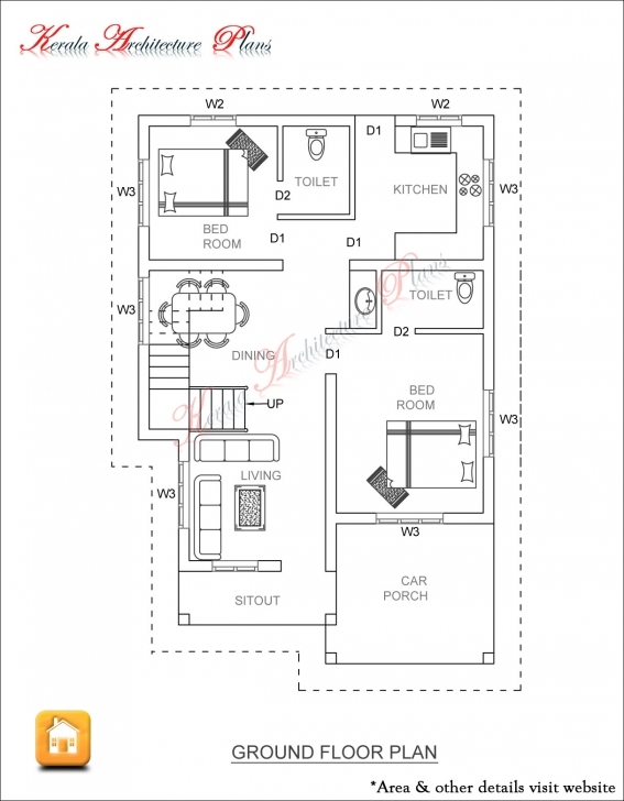 Marvelous 3 Bed Room 1500 Square Feet House Plan - Architecture Kerala 1400 Sq Ft House Plans Kerala Style Image