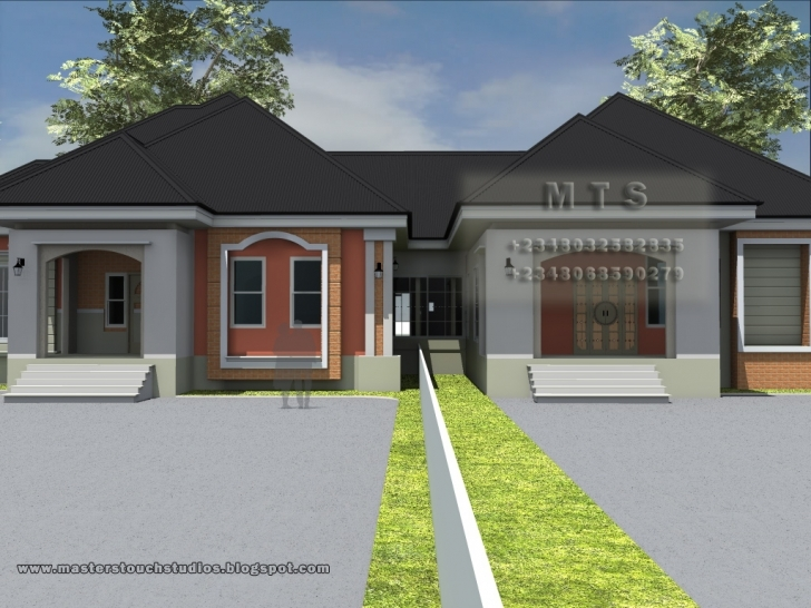 Marvelous Bedroom Bungalow Duplex Accamoera - Building Plans Online | #8066 Three Bedroom Bungalow Design In Nigeria Image