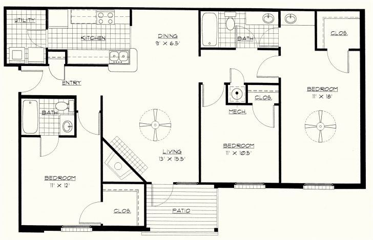 Marvelous Bedroom Designs Also Floor Plan Of Three Bedroom Superlative On Three Bedroom Flat House Plan Picture
