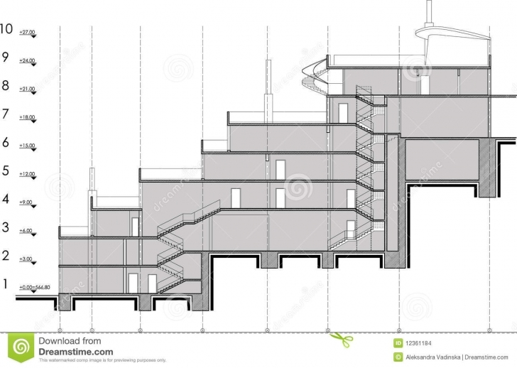 Marvelous Building Section Drawing Stock Vector. Illustration Of Section Section Of Residential Building Pic