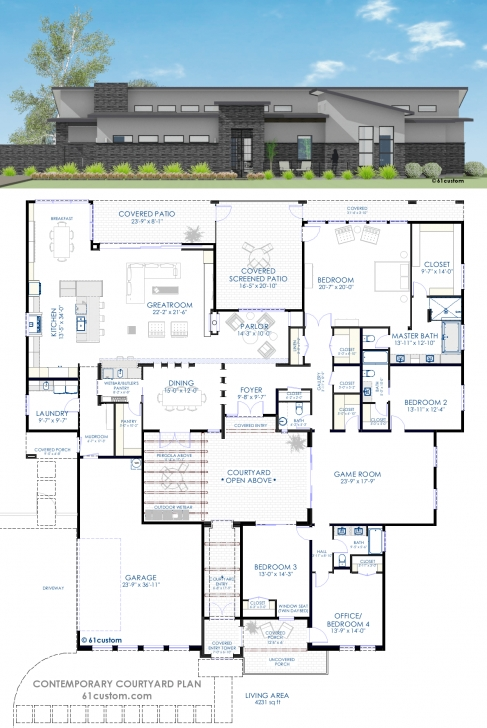 Marvelous Contemporary Courtyard House Plan | 61Custom | Modern House Plans Modern House Plans Photo