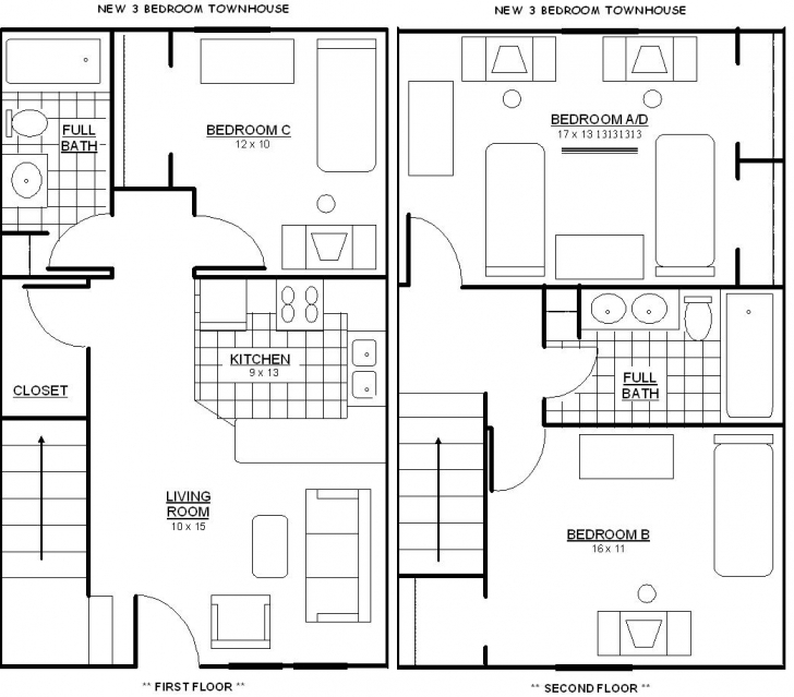 Marvelous Home Architecture: Simple Bedroom House Plans Layout And Interior Best 3 Bedroom Flat Plan Photo