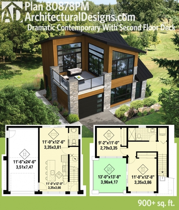 Marvelous Plan 80878Pm: Dramatic Contemporary With Second Floor Deck | Modern Small Modern House Plan And Elevation Image