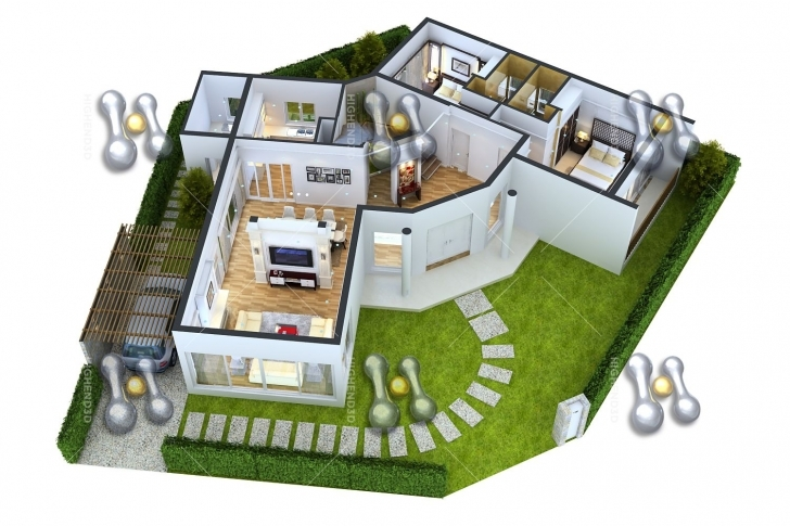 Marvelous Simple House Plan With 3 Bedrooms 3D Simple House Plan With 2 | Home Simple House 3D Blueprint Image